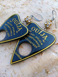Ouija Planchette Earrings - green and gold - Minxes' Trinkets