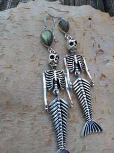 Skeleton Mermaid Earrings with Labradorite - Minxes' Trinkets