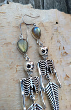 Load image into Gallery viewer, Skeleton Mermaid Earrings with Labradorite - Minxes' Trinkets
