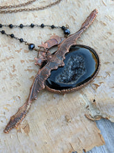 Load image into Gallery viewer, Electroformed Bat and Black Druzy Necklace