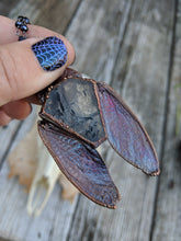 Load image into Gallery viewer, Electroformed Cicada-Winged Coffin Necklace - Dark - Minxes' Trinkets