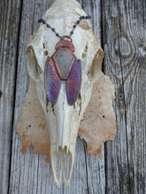 Load image into Gallery viewer, Electroformed Cicada-Winged Coffin Necklace - Light