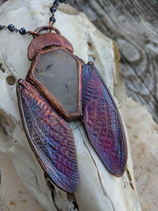 Electroformed Cicada-Winged Coffin Necklace - Light