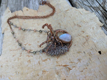 Load image into Gallery viewer, Electroformed Moonstone Spider Necklace