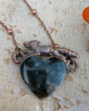 Load image into Gallery viewer, Electroformed Fox with Moss Agate Heart - Moss - Minxes' Trinkets