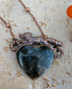 Electroformed Fox with Moss Agate Heart - Moss - Minxes' Trinkets