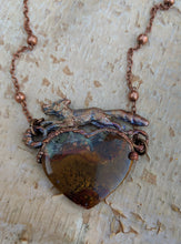 Load image into Gallery viewer, Electroformed Fox with Moss Agate Heart - Fallen Leaves - Minxes' Trinkets