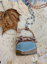 Load image into Gallery viewer, Electroformed Fox with Landscape Jasper - 'Wild on the Moors' - Minxes' Trinkets