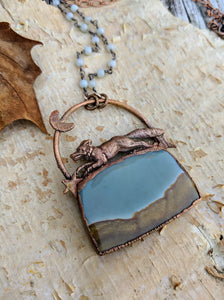 Electroformed Fox with Landscape Jasper - 'Wild on the Moors' - Minxes' Trinkets