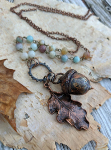Electroformed Acorn Necklace with Amazonite - Minxes' Trinkets