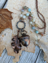 Load image into Gallery viewer, Electroformed Acorn Necklace with Amazonite - Minxes' Trinkets