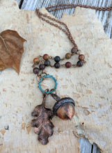 Load image into Gallery viewer, Electroformed Acorn Necklace with Cherry Creek Jasper - Minxes' Trinkets