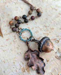 Electroformed Acorn Necklace with Cherry Creek Jasper - Minxes' Trinkets