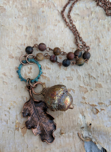 Electroformed Acorn Necklace with Cherry Creek Jasper II - Minxes' Trinkets
