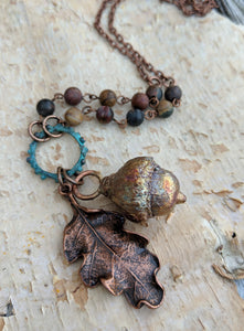 Electroformed Acorn Necklace with Cherry Creek Jasper II