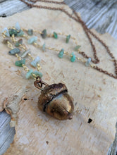 Load image into Gallery viewer, Electroformed Acorn Necklace with Chrysoprase