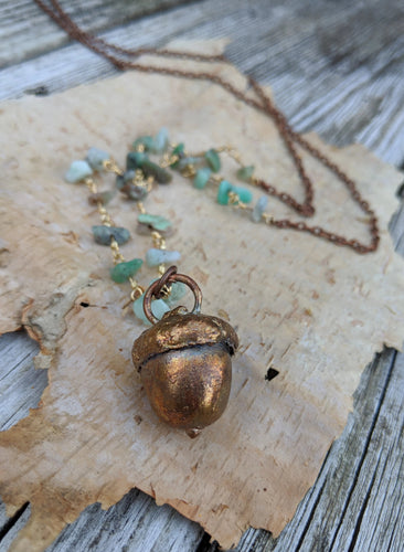 Electroformed Acorn Necklace with Chrysoprase - Minxes' Trinkets