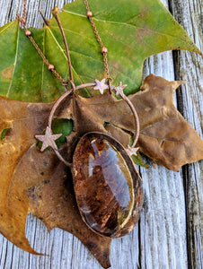 Electroformed Garden Quartz Lodolite Necklace - Russet and Umber