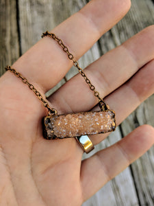 Electroformed Peach Druzy Necklace - Minxes' Trinkets