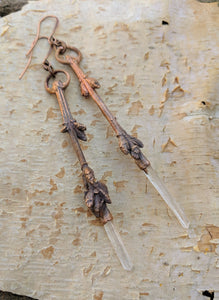 Electroformed Forsythia Earrings with Quartz - long points - Minxes' Trinkets