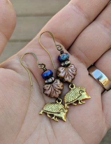 Hedgehog earrings - Gloaming - Minxes' Trinkets