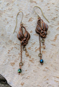 Vintage Floral Brass Earrings - Minxes' Trinkets