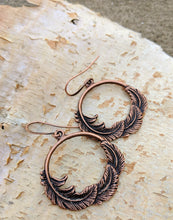Load image into Gallery viewer, Copper Feather Hoop Earrings - Minxes' Trinkets