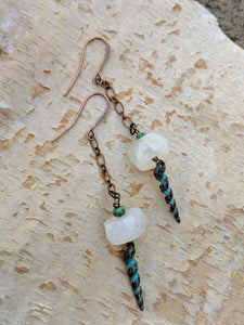 Moonstone and Verdigris Spiral Shell Earrings - Minxes' Trinkets