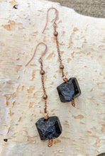 Load image into Gallery viewer, Black Tourmaline Dangle Earrings - Minxes' Trinkets