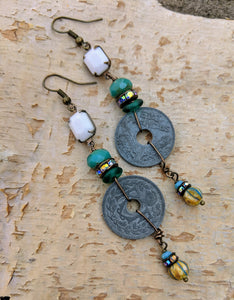 Vintage French Coin Assemblage Earrings - Minxes' Trinkets