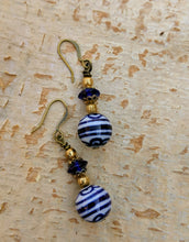 Load image into Gallery viewer, Vintage Blue and White Ceramic Earrings - Minxes' Trinkets