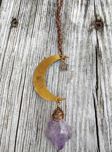 Simple Moon Long Necklace with Amethyst - Minxes' Trinkets