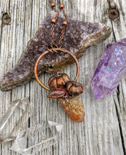Load image into Gallery viewer, Copper Electroformed Mini Pumpkin with Spirit Quartz Necklace 10 - Minxes' Trinkets