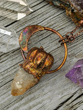 Load image into Gallery viewer, Copper Electroformed Mini Pumpkin with Spirit Quartz Necklace 9 - Minxes' Trinkets