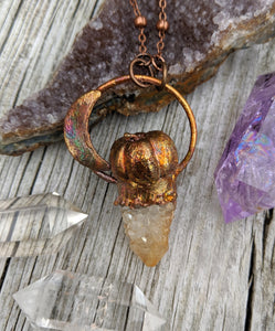 Copper Electroformed Mini Pumpkin with Spirit Quartz Necklace 9