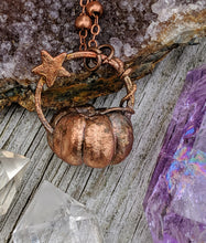 Load image into Gallery viewer, Copper Electroformed Mini Pumpkin Necklace 8