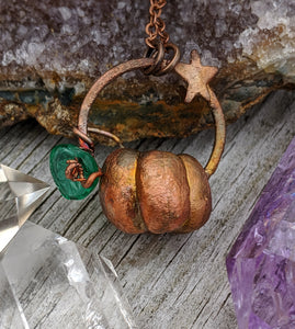 Copper Electroformed Mini Pumpkin Necklace 5