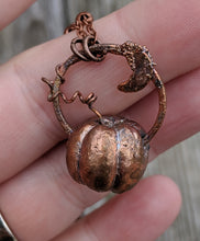 Load image into Gallery viewer, Copper Electroformed Mini Pumpkin Necklace 4
