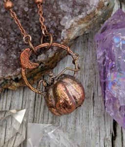 Copper Electroformed Mini Pumpkin Necklace 3 - Minxes' Trinkets