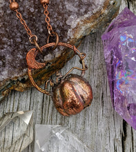 Load image into Gallery viewer, Copper Electroformed Mini Pumpkin Necklace 3 - Minxes' Trinkets