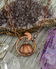 Load image into Gallery viewer, Copper Electroformed Mini Pumpkin Necklace 2