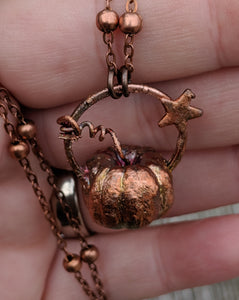 Copper Electroformed Mini Pumpkin Necklace 1