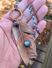 Load image into Gallery viewer, Real Copper Electroformed Feather - Labradorite 1
