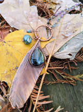 Load image into Gallery viewer, Real Copper Electroformed Feather - Teal Labradorite - Minxes' Trinkets