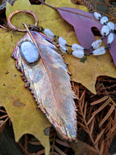 Load image into Gallery viewer, Real Copper Electroformed Feather - Rainbow Moonstone 1 - Minxes' Trinkets