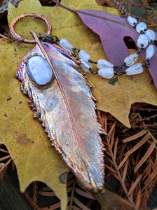 Real Copper Electroformed Feather - Rainbow Moonstone 1 - Minxes' Trinkets