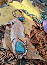 Load image into Gallery viewer, Real Copper Electroformed Feather - Chrysocolla - Minxes' Trinkets
