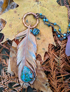 Real Copper Electroformed Feather - Chrysocolla - Minxes' Trinkets