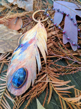 Load image into Gallery viewer, Real Copper Electroformed Feather - Lapis Lazuli - Minxes' Trinkets