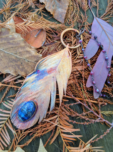 Real Copper Electroformed Feather - Lapis Lazuli